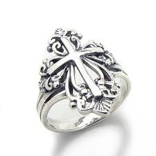 cross rings silver images Sterling silver victorian style open cross ring sizes jpg