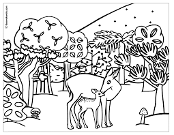 digital collage of coloring page outlines of forest animals 796