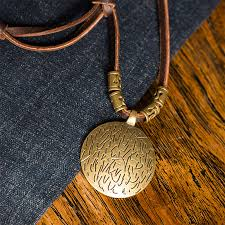 leather necklace pendants images Vintage long leather rope round pendant necklace jpg