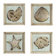 seashell wall art sea dreams seashell wooden wall art plaque set wall art 14in x 14in metal plaque of sea shells set of