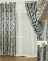 Black Out Curtain Fabric Silver Gray Jacquard Fabric Floral Pattern Privacy Blackout Curtain