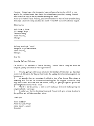 Business Complaint Letter Format by Letter Of Complaint Garbage