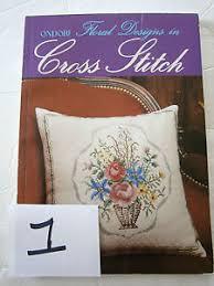 ondori floral designs in cross stitch pattern book tablecloth