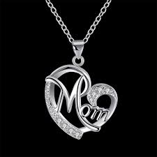 s day charm necklace letters heart pendant silver plated fashion aaa zircon