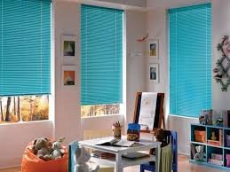 bright modern blue blinds for windows and playroom interior accent