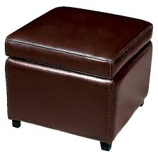 full leather small storage cube ottoman dark brown baxton studio