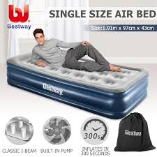 bestway single flocked air bed 43cm inflatable blow up mattress w