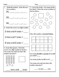 1st grade common core math worksheets by kathryn gehrs tpt