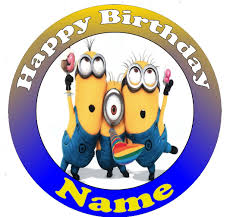 minions cake toppers despicable me minions personalised edible cake topper disc