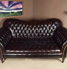 Chesterfield Tufted Leather Sofa by Arhaus Club Petit Chesterfield Style Tufted Leather Sofa Ebth