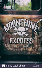 Vintage Ford Truck Decals - 1951 ford f1 pick up truck door with moonshine express and skull