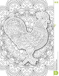 printable coloring book page for adults rooster design activity