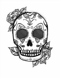 Printable Halloween Pages Sugar Skull Drawings With Roses Urldircom