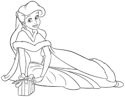 disney princess coloring pages ariel in a dress kids coloring