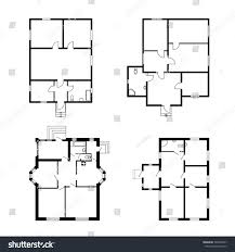 Architectural Design Floor Plans Set Ground Floor Blueprints Vector Unfurnished Stock Vector