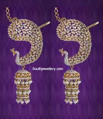 kaan earrings peacock kaan jhumkas jewellery designs