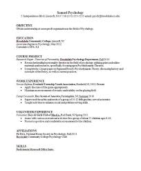 Psychology Resume Examples by Sample Resume For Psychology Graduate Http Www Resumecareer