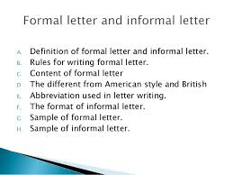 Letter Meaning In formal and informal letter