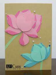 Mother S Day Greeting Card Handmade Kio Cards Handmade Pink And Mint Lotus Flowers Mother U0027s Day Card
