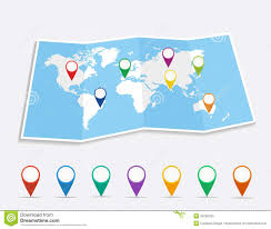 Pin World Map by Geo Map Pin Stock Vector Image 50565330