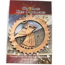 ornament gift carved by laser olive wood 7 cm or 2 8