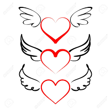 cute heart tattoo designs heart with wings collection cartoon vector illustration tattos
