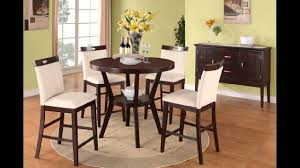 5 pc round espresso finish wood counter height dining table set