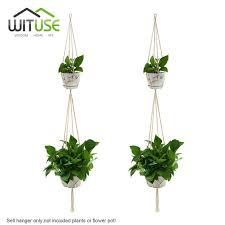 Simple Macrame Plant Hanger - wituse 2pcs layers simple macrame flower pot hanger