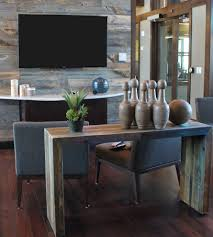 bright reclaimed wood console table in spaces industrial with