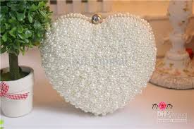 wedding bags heart shape wedding handmade pearl bags white wedding bag evening
