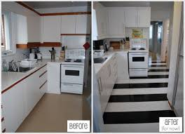 Ugly Kitchen Cabinets How To Lay Vinyl Black And White Flooring In Stripes Melamine