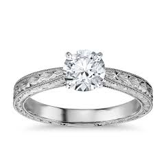 engagement ring engravings engraved solitaire engagement ring in 14k white gold blue nile