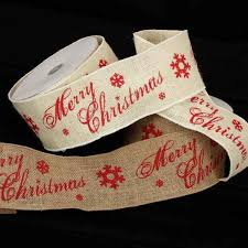 christmas wired ribbon wired scripted burlap