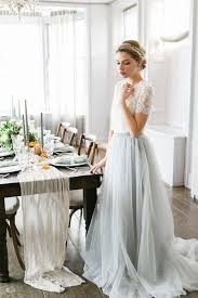 ethereal wedding dress such a pretty light blue skirt teamed with a simple lace