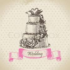wedding cake hand drawn illustration stock vector colourbox