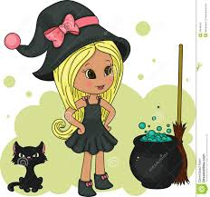 little clipart witch pencil and in color little
