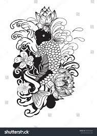 beautiful doodle art koi carp tattoo stock vector 668566348