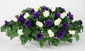 Flowers For Funeral Beautiful Dark Purple And White Roses Silk Flower Cemetery