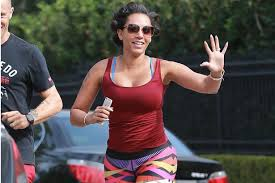 husband forced to sleep in hair rollers mel b is a real spice curl as she goes jogging with her rollers in