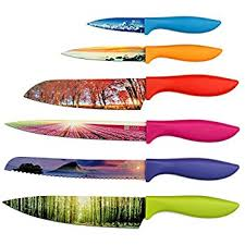 luxury kitchen knives amazon com chef s vision 6 color landscape kitchen knife