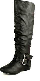 knee high motorcycle boots nature breeze womens vickie 20 flat faux leather slouch knee high