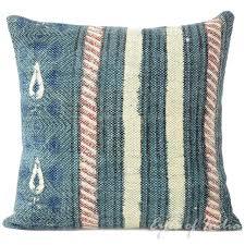 blue dhurrie striped bohemian kilim decorative sofa throw pillow