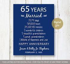 65 wedding anniversary 65th wedding anniversary gift for parents 65 years wedding