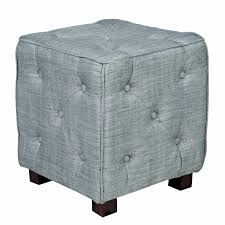 Light Blue Tufted Ottoman Small Light Blue Tufted Ottoman With Button Square Shaped Of