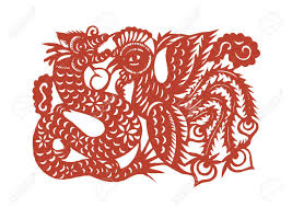 vector of various lifelike chinese dragon paper cutting all