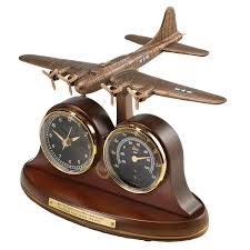 b 17 flying fortress tribute desk clock and thermometer all