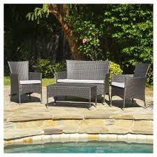 Outdoor Settee Cushions Set Of 3 Clearance Malta Outdoor 4 Piece Wicker Chat Set With Cushions Target