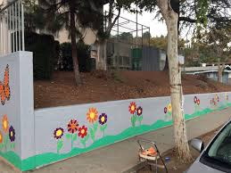 latona elementary school mural project unit 83 outer small school wall stenciled it all the way out to the corner