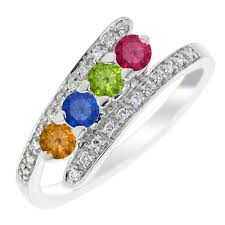mothers rings white gold 4 bypass mothers ring in 14kt white gold with diamonds 1