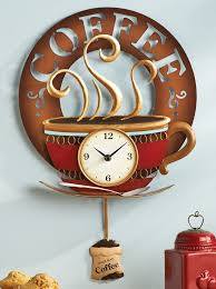 Handmade Decorative Items For Home Coffee Cup Theme Kitchen Wall Clock Metal Home Decor Accent New